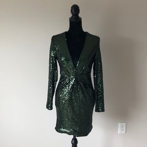 Charlotte Russe green deep v sequin dress (s)